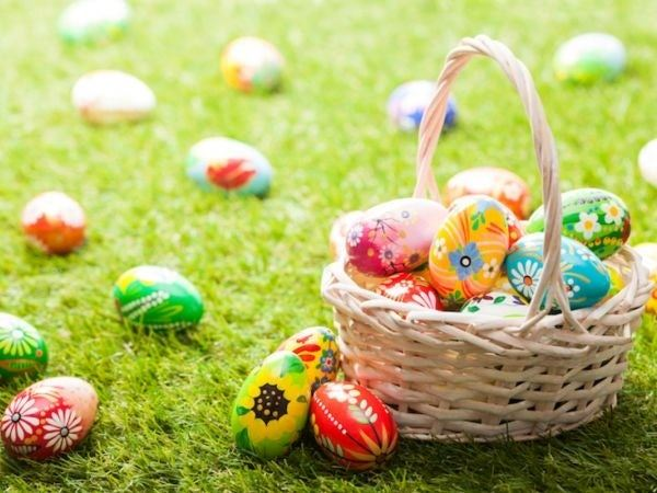 Easter Eggs on grass with basket